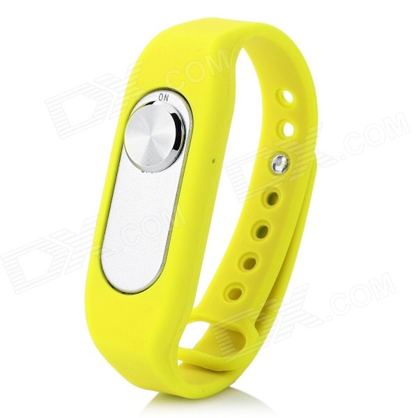 Sports Wrist Band Grabadora de voz digital con 4 GB de RAM - Amarillo + Plata