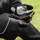 SAHOO 42890 Unisex Cycling Anti-Skid Full Fingers Touch Screen Gloves - Black (M / Pair)