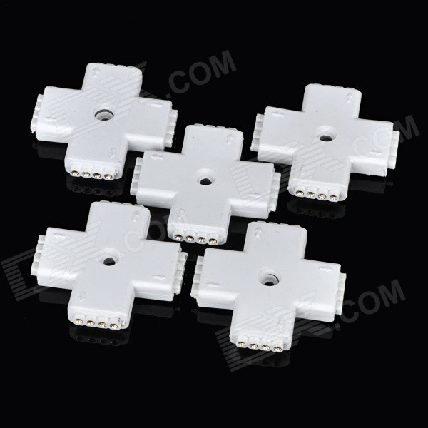 Cross-Shape Soldering-Free 4-Pin Connector for RGB Light Strip - White (5pcs)