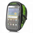 "Bicycle Handlebar Mounted Bag for 5.7"" Touch Screen Phone - Black + Green (Size L)"