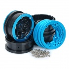 Universal Replacement Wheel Rim Hub w/ Spacers & Screws for 1:10 Model Car - Black + Blue (4PCS)