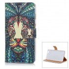 Tiger Head Pattern PU Leather Case with Stand and Card Slot for IPHONE 6 Plus