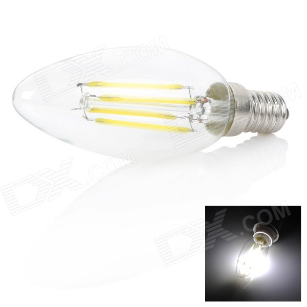 E14 4W 350lm 6000K 4-LED White Light Candle Bulb(AC 220V)