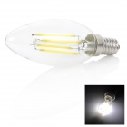 E14 4W 350LM 6000K 4 -LED White Light Bulb Candle - Transparente ( 220V AC )