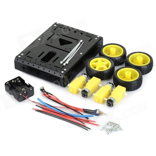 4WD Lightweight Aluminum Alloy Mobile Robot Kit - Black + Yellow
