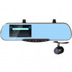 "4.3"" LCD 1080P HD IR Night Vision Dual-Camera Rearview Mirror Car DVR Recorder w/ Parking Monitor"