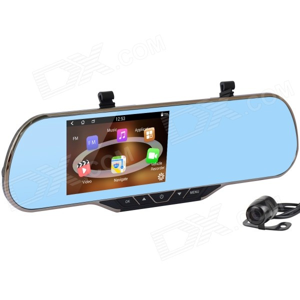 "5"" 1080P Android Car DVR Rearview Mirror GPS Wi-Fi EU Map - Black"