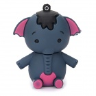 Cute Elephant Style USB 2.0 Flash Drive - Bluish Grey + Deep Pink (8GB)