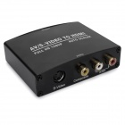 AV / S-VIDEO to HDMI 1080P Converter w/ R/L / Mini USB / Composite - Black