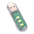 Ultra-Bright USB Powered 3-LED White Mobile Lamp - Green + Transparent