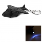 Fighter Plane Style LED White Light Keychain - Black (3 x AG3)