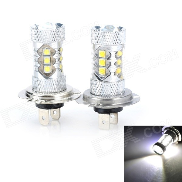 Marsing H7 8W 5000lm 6500K White 16-LED Car Fog / Head Lamp (2PCS)
