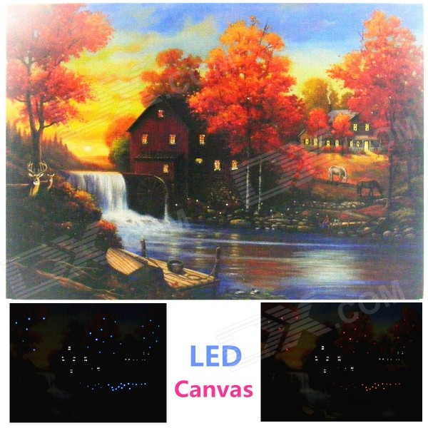 "Maple Forest Style Frameless Canvas LED Light Painting 15.7""*11.8"""