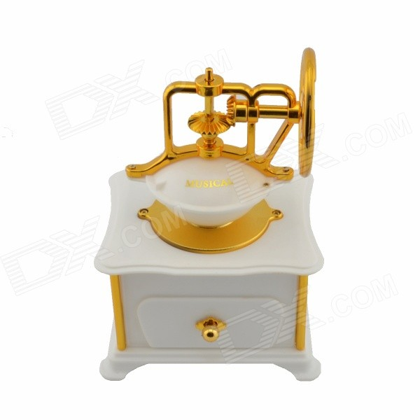 Classical Coffee Machine Style Music Box - White + Golden