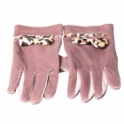 Women's Fashion Pleuche Warm Screen Touch Gloves w/ Bowknot - Coffee (Pair)