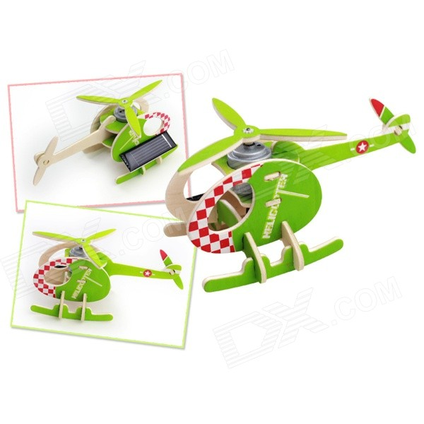 3D DIY Assembly Puzzle Solar Powered Wooden Aircraft Toy - Green