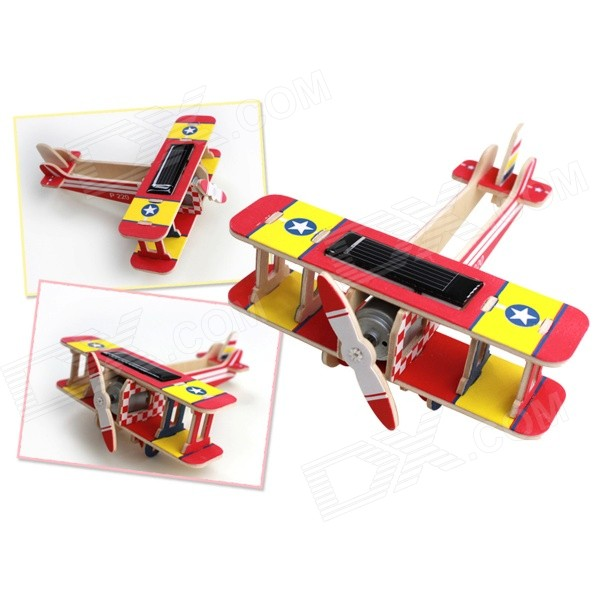 3D DIY Assembly Puzzle Solar Powered Wooden Aircraft Toy - Red
