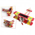 3D DIY Educational Assembly Puzzle Solar Powered Wooden Aircraft Toy - Red + Yellow