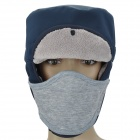 Herren Winter Outdoor Sports Warm Hat w / Removable Gesichtsmaske - Deep Blue + Grau
