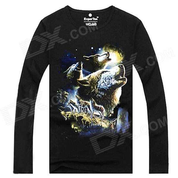 ExperTee Men's Wolves Pattern Long-Sleeved T-Shirt - Black (L)