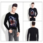 ExperTee Men's Shark Pattern Long-Sleeved T-Shirt - Black (XL)