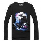 ExperTee Men's Eagle Pattern Long-sleeved Combed Cotton T-shirt - Black + Multi-Colored (XL)