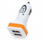 BTY 5V / 2.4A Dual-USB Car Cigarette Lighter Power Adapter Charger - White + Orange
