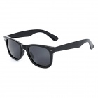 Unisex Fashionable UV400 Protection Plastic Frame Resin Lens Sunglasses - Black
