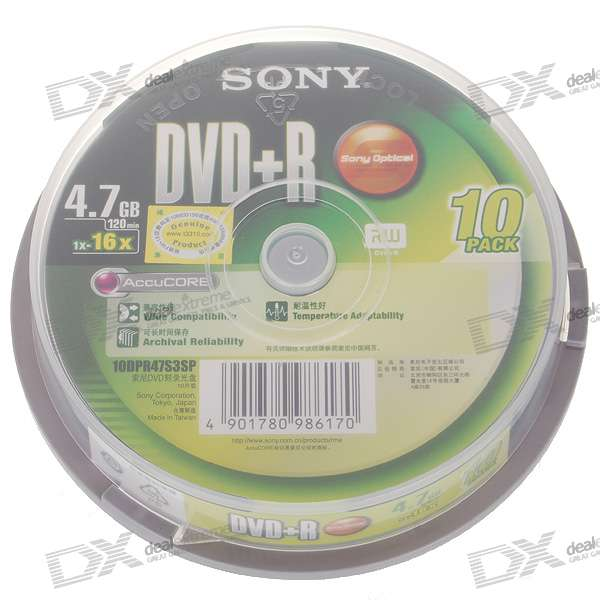 Genuine Sony DVD+R 16X 4.7GB 120-Min DVD Writable (10-Disc Spindle)