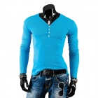 Men's Fashionable Polyester Cotton V-Neck Long-Sleeve T-Shirt - Blue (XL)