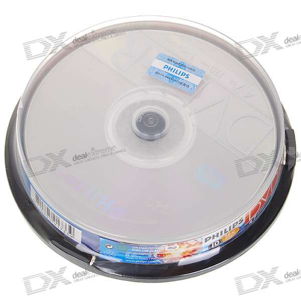 Genuine Philips DVD+R 16X 4.7GB 120-Min DVD Writable (10-Disc Spindle)
