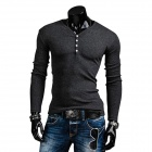 Men's Fashionable Polyester Cotton V-Neck Long-Sleeve T-Shirt - Grey (L)
