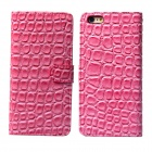Stone Style Protective PU Leather + PC Flip Open Case w/ Card Slots for IPHONE 6 - Deep Pink