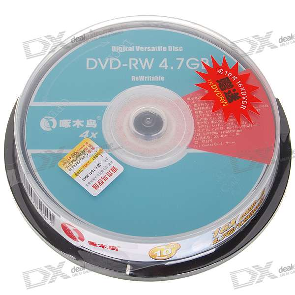 Genuine Woodpecker DVD-R 16X 4.7GB 120-Min DVD Writable (10-Disc Spindle)