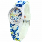 Women's Fashionable Flower Pattern Silicone Band Quartz Analog Watch - Blue + White (1 x 377)