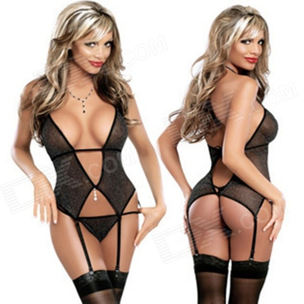 Women's Sexy Lace Lingerie & Underwear Set - Black (Free)
