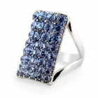 Women's Stylish Crystal Decorated 18K RGP Alloy Square Ring - White + Blue (US Size: 9)