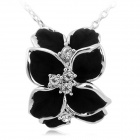 Rshow 18K RGP Alloy Flower Shaped Necklace - Black + Silver