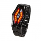Luxury Men's Snake Dial Red Blue LED Tungsten Steel Strap Wrist Watch - Black