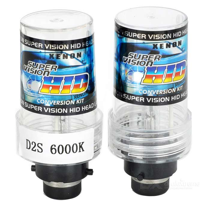 D2S 35W 3200lm 6000K White Light Car HID Xenon Lamps Bulbs (2PCS)HID Xenon Kits<br>Color Temperature6000KModelD2S 6000KQuantity2 DX.PCM.Model.AttributeModel.UnitMaterialMetal halide + platinum-molybdenum + electrode + tubeForm  ColorBlack + TransparentTypeHID LampCompatible Car ModelUniversalTypeACInput Voltage9~16 DX.PCM.Model.AttributeModel.UnitRate Voltage12VOutput Power35 DX.PCM.Model.AttributeModel.UnitActual Lumens3000~3200 DX.PCM.Model.AttributeModel.UnitLife Span3000 DX.PCM.Model.AttributeModel.UnitSocket TypeD2SOther FeaturesAlso universal for D2C / D2R.Packing List2 x HID lamps<br>