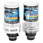 D2S 35W 3200lm 6000K White Light Car HID Xenon Lamps Bulbs - Black + Transparent (2 PCS)