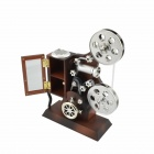 Retro Film Projector Style Music Box - Brown + Silver
