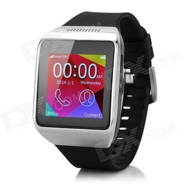 "P6 GSM Smart Watch Phone w/ 1.54"", 64MB RAM - Black + Silver"