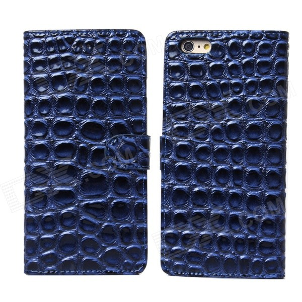 Stone Pattern Flip-Open PU + PC Case Cover or IPHONE 6 - Deep Blue
