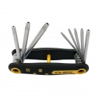 BESTIR BST-94403 Compact 8-in-1 Folding Star Wrench Set Tools - Black