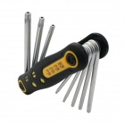 BESTIR BST-94403 Compact 8-in-1 Folding Star Wrench Set T9-T40 Tools Kit - Black + Yellow + Silver