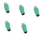 6P USB to PS2 Mouse Adapter - Green (5 PCS)