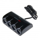 WF-074 1-to-4 Car Cigarette Lighter Adapter USB - Black (DC 12~24V)