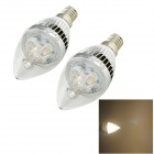 YouOkLight E14 3W 280lm 3000K 3-LED Warm White Light Candle Glühlampen Lampen (AC 85 ~ 265V / 2 PCS)