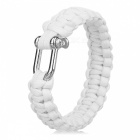 Outdoor Emergency Survival Parachute Cord Paracord Bracelet w/ U-Shaped Shackle / Carabiner - White